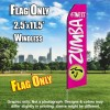 ZUMBA FITNESS Hot Pink and White Flutter Feather Flag Only