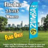 ZUMBA FITNESS Light Blue and White Flutter Feather Flag Only