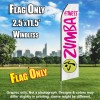 ZUMBA FITNESS White and hot Pink Flutter Feather Flag Only