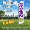 ZUMBA FITNESS White and Purple Flutter Feather Flag Only